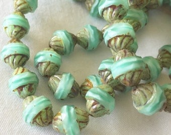 11 x 10mm Turbine Beads Silky Mint With Picasso color Czech glass beads 6 pcs #85