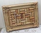 French Country Wine Cork Bulletin Board in Antique Painted Frame