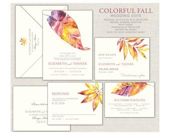 Fall Leaves Wedding Invitation, Colorful Fall Invitations, Gold Leaves Wedding Invitations, Burgandy Fall Wedding, Modern Fall Wedding