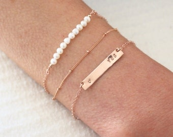 Rose gold bracelet set - 3 dainty rose gold chain stacking bracelets - personalised jewelry - save 15%