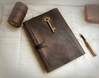 brown leather journal - gift for him - rustic brown journal - huge notebook - diary with vintage style pages - The Key of Memories