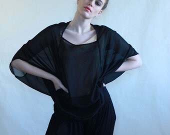 Women top, black chiffon top, roomy top, original top, black shirt, kimono chiffon top