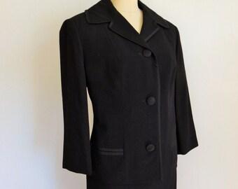 60s MOD Jackie O style black wool suit size medium