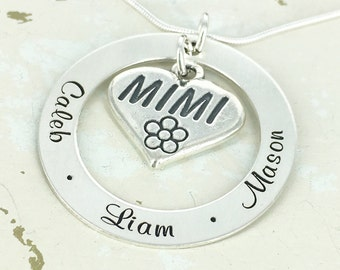 "1 1/4"" personalized loop necklace with Mimi heart charm - Engraved Necklace - Mimi Necklace - Mimi Jewelry"