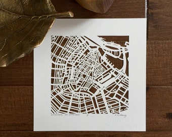 Amsterdam, Rome, London, Florence, or Brussels hand cut map, 10x10