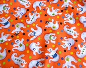 Vintage Halloween Fabric - Friendly Ghosts on Orange - By the Yard