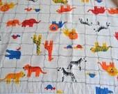 Vintage Fabric - Zoo Animals - Woven Cotton Fabric Curtain Panel