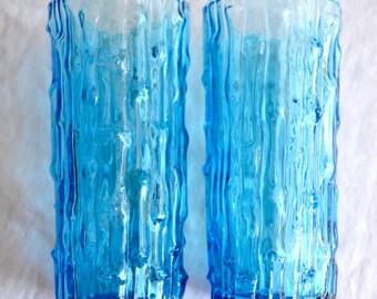 Vintage Aqua Blue Drinking Glasses - Mid Century Bark Texture - 2
