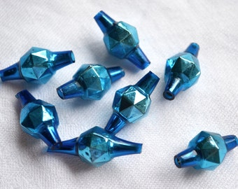 Vintage Mercury Glass Beads - Blue Faceted Barrels - 10 Loose