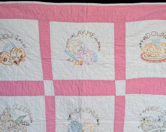 Vintage Embroidered Baby Quilt Blanket - Pink and White Sleep Prayer - 33 x 36