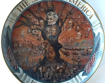 "Vintage 1980 The Spirit of America Collector Plate ""The Sweep Westward"" Dean Fausett 450/1978 Limited Edition Mural Art the Ghent Collection"