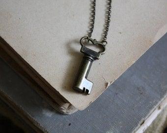 The Secret Garden Key - Steampunk Key Necklace - Small Key Necklace -