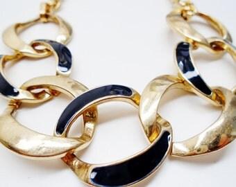 Vintage Signed George Necklace Choker Collar Shimmering Gold Navey Blue Enamel Interlocking Chain Modern Retro Art Deco Runway Statement