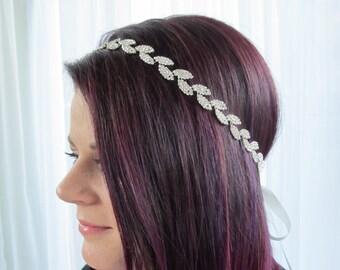 Rhinestone silver leaves Bridal Headband,Bridal Accessories,Wedding Accessories,Crystal Wedding Hairband,Bridal Headpiece,#H6
