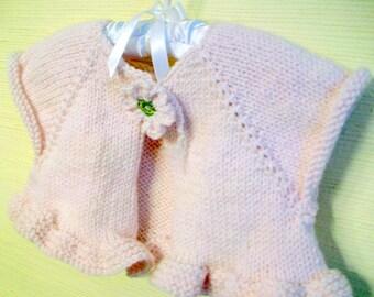 Girls ballet bolero, Girls ruffled shrug, Hand knit childs cardi, Angelic palest pink, Flower closure, Size 4, Loose fitting