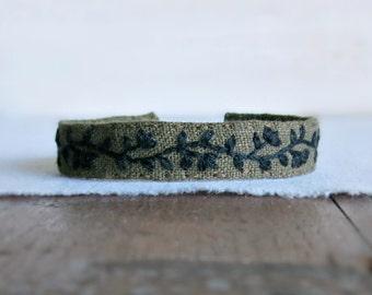 Floral Cuff Bracelet - Black Floral Design on Olive Green Linen Bracelet