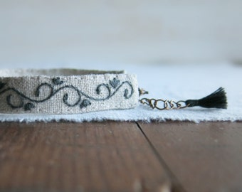 Embroidered Filigree Cuff Bracelet - Charcoal Grey Filigree Pattern on Natural Linen
