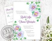 DIY Custom Wedding Invitation and Response Card for Outdoor Wedding - Garden Floral Watercolor Design Customized Printable PDF