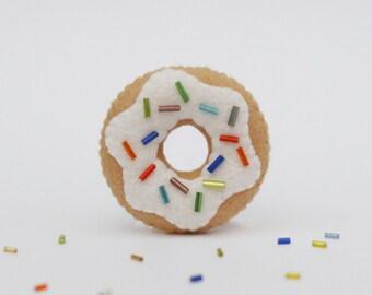 White Vanilla Donut Felt Pin, Food Accessory
