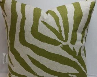 "Animal print zebra decorative pillow, 18"" square, olive green, oatmeal,"