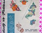 1940's  Vintage Simplicity Hot Iron Transfer Pattern 7166 - UNCUT * Floral Necklines & Pocket Motifs