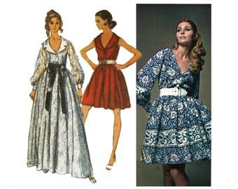 1960s Party Dress Pattern Shirt Dress Full Skirt Deep V Neck Notched Collar Evening Vintage Sewing Pattern Simplicity 8286 Bust 34