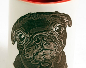 Red and White Stoneware Cute Black Pug Tumbler Vase Pencil Holder