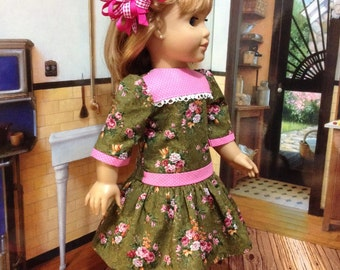 """SALE 1950's   Cute """" Roses and Dots"""" dropped waist dress fits American Girl or similar sized 18 inch dolls"""