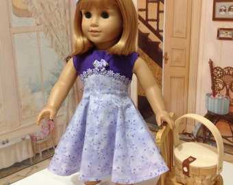 "SAle  AG ""Lavender Lady"" 1950's dress and pill box hat fits American girl doll and other 18 inch similar doll"