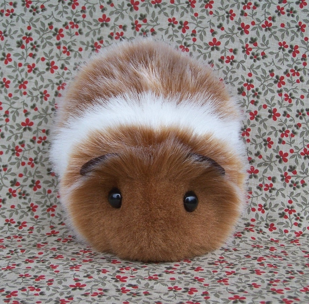 Guinea Pig Toys : Red and white toy guinea pig cute handmade plush animal