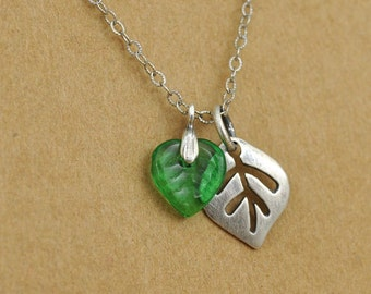 small leaves silver necklace, glass leaf, silver leaf, fall necklace, TINY LEAVES, sterling silver tree necklace