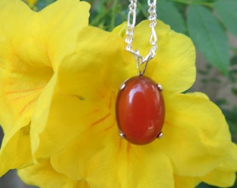 Classic Carnelian and Sterling Silver Necklace