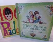 Vintage Children's Books - Tasha Tudor First Poems and 1001 Riddles Cottage Chic