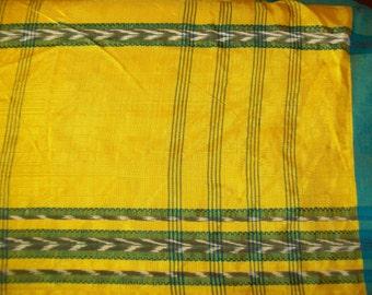 Vintage Ikat Sari Fabric - Decorating - Curtains - Sewing - Yardage - Bright Yellow, Green, Black