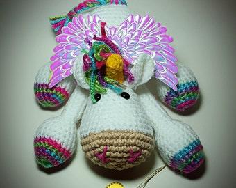 Amigurumi Unicorn Pegasus Plush Iridescent Wings Pretend Play Fairy World Dolls Imaginative Play Animal Toy Collectibles Baby Gift Ideas