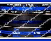 New 1, 2,3,4 or 5 yards 7/8 Pledge Support Law enforcement BLUE LIVES Matter POLICE Foil Doodle Glitter Grosgrain Ribbon hair bows awareness