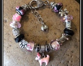 "DIVA DOG - Dog Mom European Style Bracelet ~ 7 3/4"""
