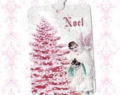Christmas, Gift Tags, Noel, Angel Tags, Christmas Tags, Bird Nest, Shabby