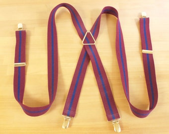 Vintage Mens Suspenders - CAS Burgundy with blue stripes Clip on Suspenders
