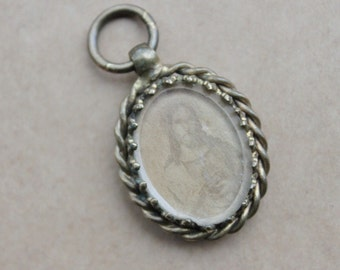 Antique French Glass Locket with Sepia Images of Jesus and Mary / Antique 1850s Religious Relic Medal