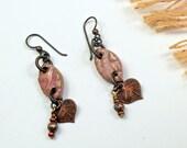 SALE, Victorian Pink.. Art Bead, Stoneware,  Copper Leaf, Dangle Earrings cabe17