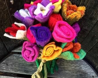 Handmade Vintage Wool Flowers