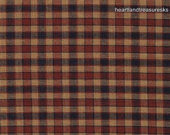 Dunroven House H-28 Primitive Style Homespun Red & Blue Plaid Fabric Off The Bolt