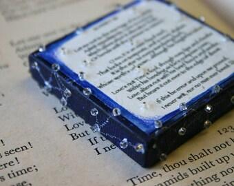 Sonnet 116 Miniature Canvas- Shakespeare- Mixed Media- 2x2- Midnight Blue- Love Poem- Small Original Art