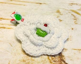 Christmas Cupcake Crochet Flower Hair Clip, Red, Green, White, Little Girl Unique Button, Handmade non slip clippie, Baby hair, alligator