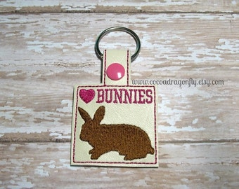 Bunnies Keychain, Pink and Brown, 4H