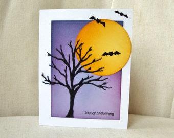 Halloween Card, Happy Halloween Card, Halloween Night, Full Moon Halloween Card, Happy Halloween,