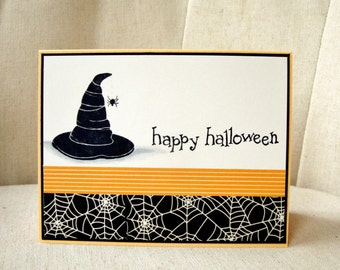 Halloween Card, Witch's Hat Halloween Card, Witch's Hat with Spider, Happy Halloween Card