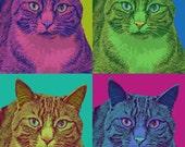 Custom cat portrait  - Andy Warhol inspired - digital file