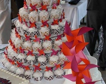 Customized Party Pinwheels cake decor cupcakes centerpieces